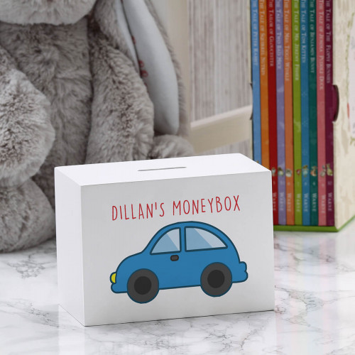 personalised Car Wooden Money Box