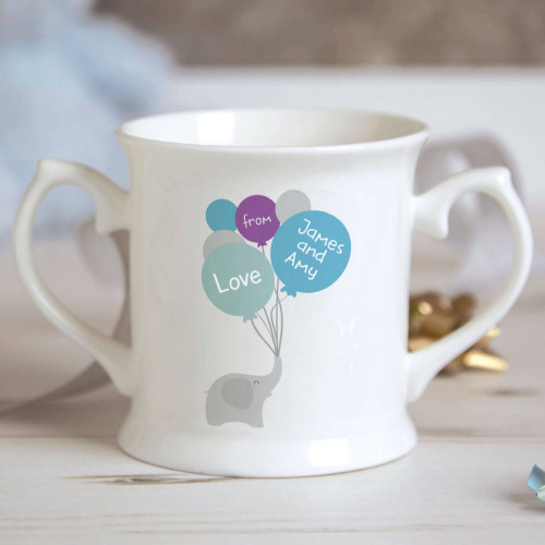personalised Boy Elephant Balloons Christening Mug