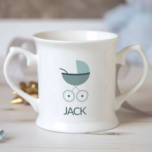 Personalised Baby Boy Pram Christening Mug