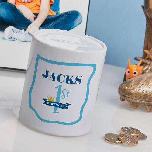 Personalised Baby Boy's 1st Birthday Personalised Money Box