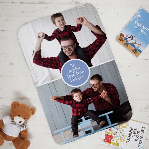 Boys Blue Double Photo Blanket