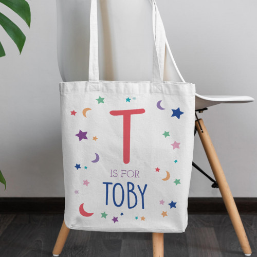 personalised Boys Moon and Stars Canvas Tote Bag