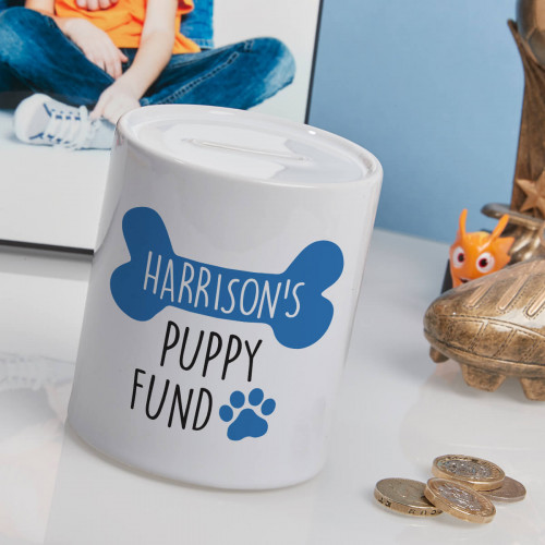 personalised blue puppy fund money box