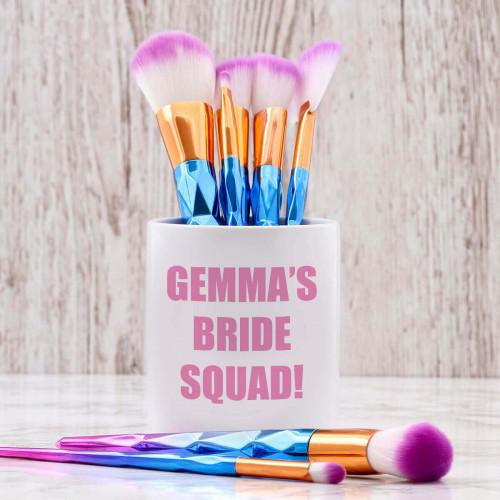 personalised Bride Squad Makeup Brush Pot