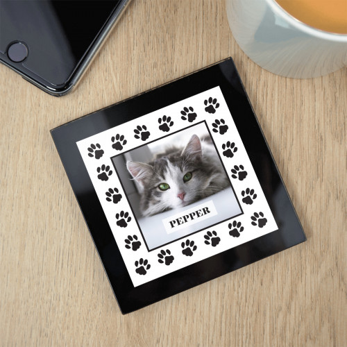 personalised Cat Paw Border Black Glass Photo Coaster