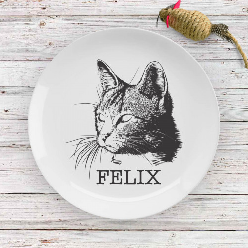 personalised cat drawing plate