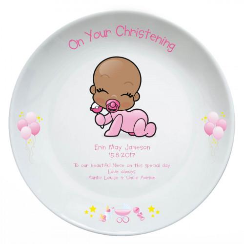 Personalised Baby Girl Christening Plate