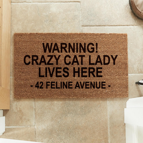 personalised Crazy Cat Lady Coir Doormat