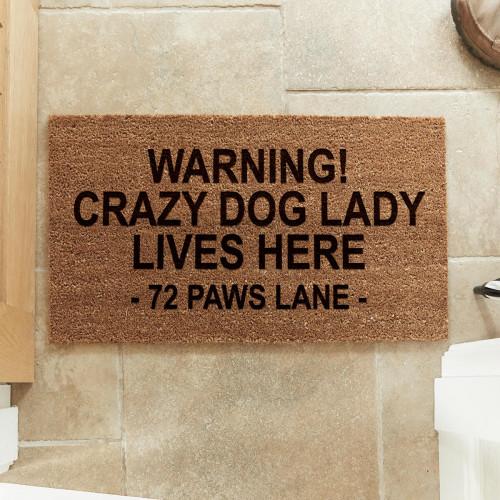 personalised Crazy Dog Lady Coir Doormat
