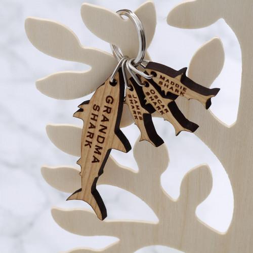 personalised Wood Sharks Keyring