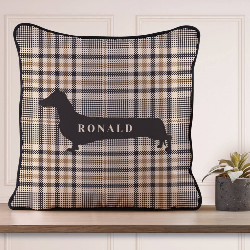 Personalised Dachshund Piped Cushion