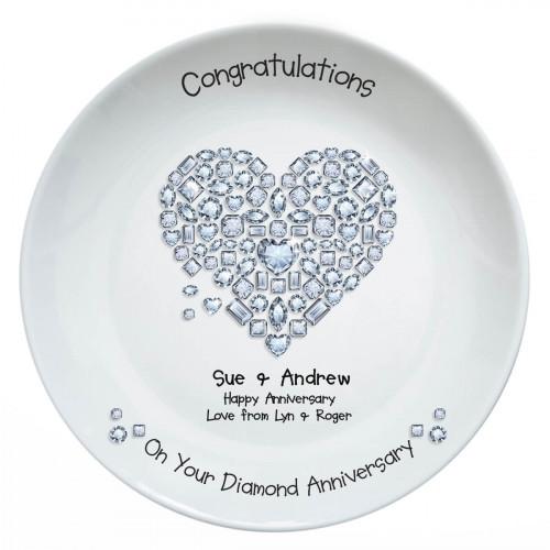 personalised Diamond Anniversary Plate