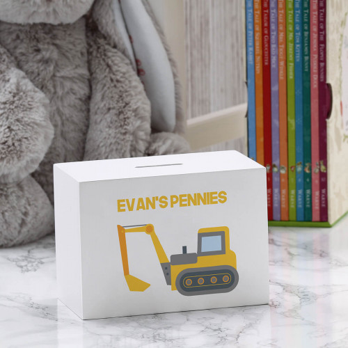 personalised Digger Wooden Money Box