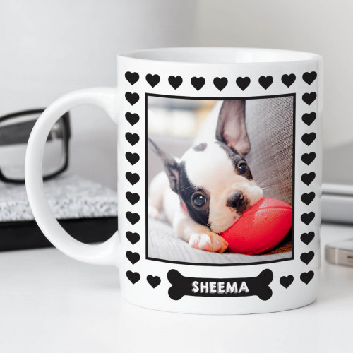personalised Dog Bone Heart Border Photo Mug