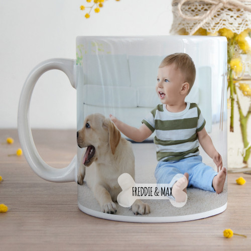 personalised Dog Bone Photo Mug