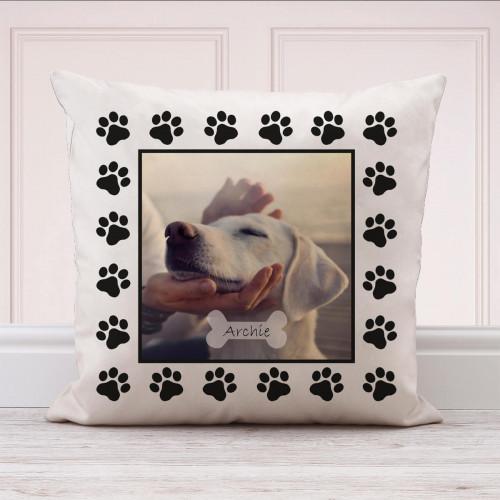 personalised Dog Paw Photo Cushion