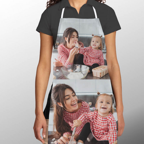 personalised Adult double Photo Apron