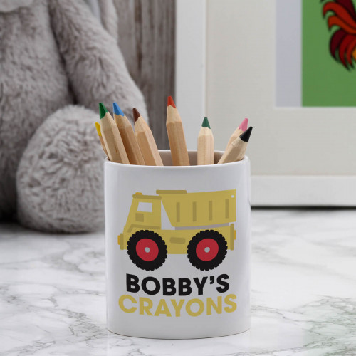 personalised Dumper Truck Pen Pot