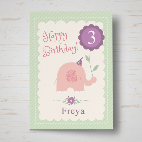 Personalised Pink Elephant Birthday Card