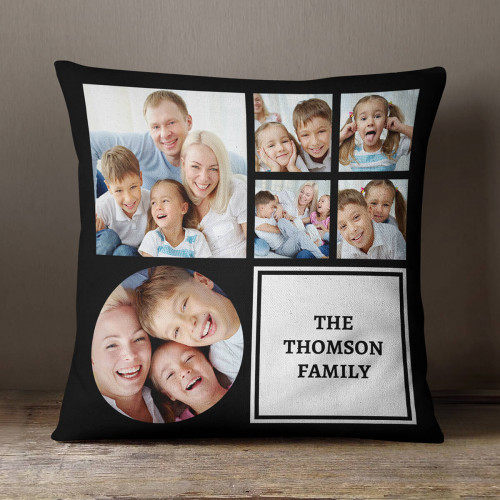 """personalised Family Black Collage Cushion 18x18"""""""