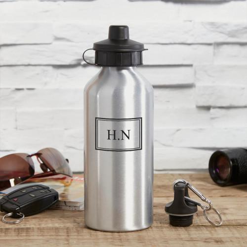 personalised Framed Monogram Silver Water Bottle