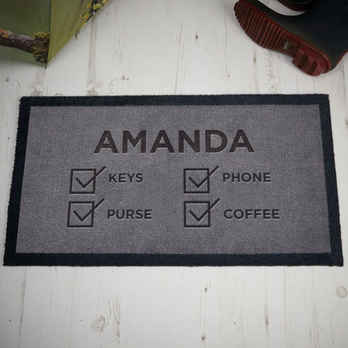 personalised checklist doormat