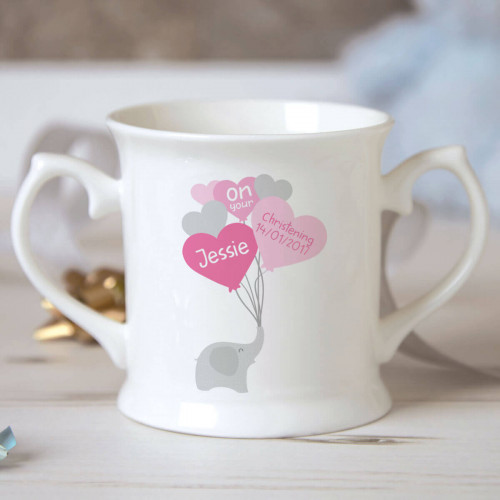 personalised Girl Elephant Balloons Christening Mug