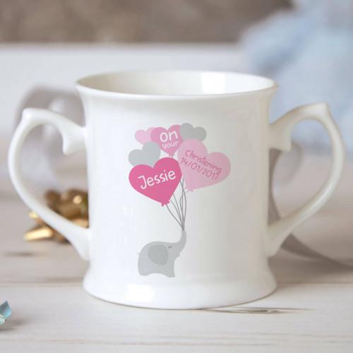 personalised Girl Elephant Balloons Christening Mug