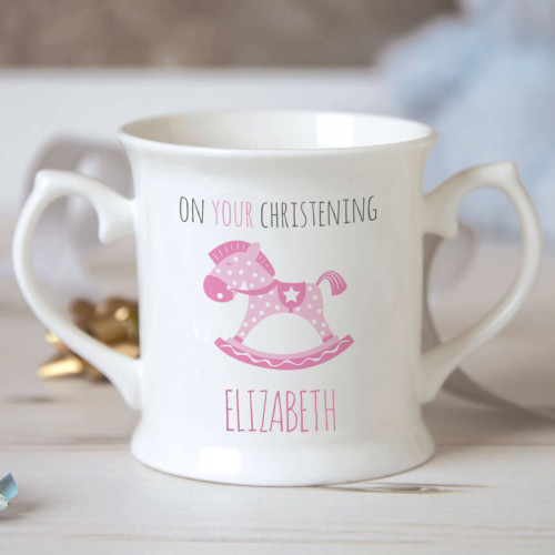 personalised Girl Rocking Horse Christening Mug
