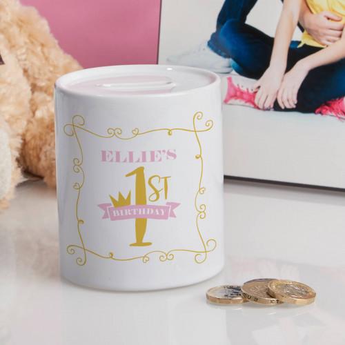 Personalised Baby Girl's 1st Birthday Personalised Money Box