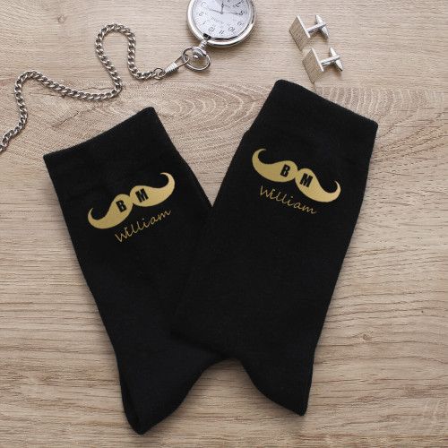 personalised Best Man Moustache Personalised Socks