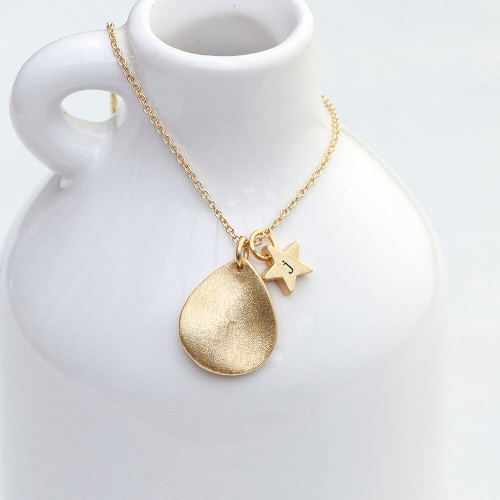 personalised Star and Drop Necklace - Gold