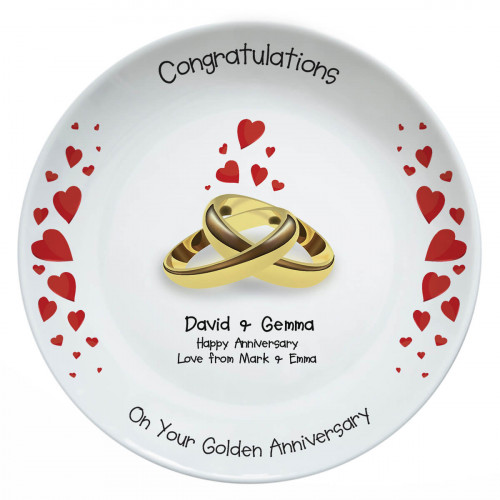 personalised Golden Anniversary Plate
