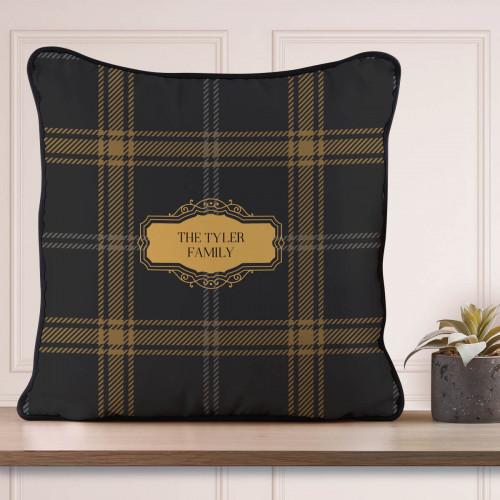Personalised Yellow Tartan Piped Cushion