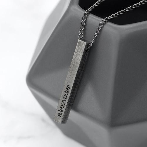 personalised Men's Solid Bar Necklace - Brushed Gun Metal