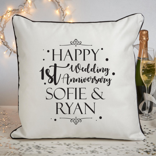 Personalised 1st anniversary piped cushion