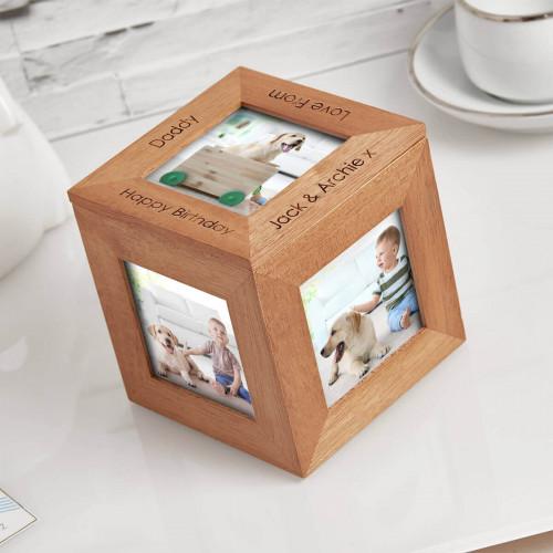 Birthday wood photo cube