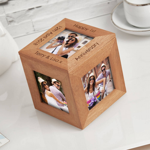 Anniversary wood photo cube