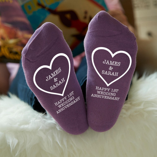personalised 1st Wedding anniversary Purple Socks