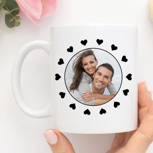 personalised heart frame photo mug