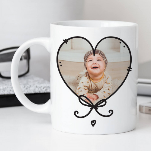 personalised Heart Knot Photo Mug