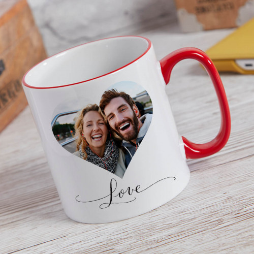 personalised Heart Photo Two Tone Mug Red