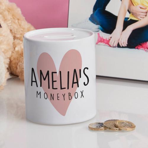 personalised Love Heart Personalised Money Box