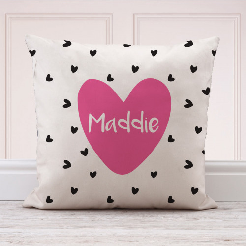 Personalised Hearts Cotton Cushion