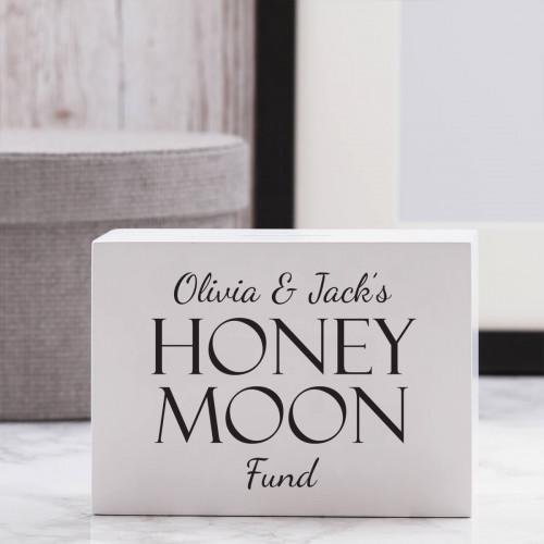 personalised Honeymoon Fund Wooden Money Box