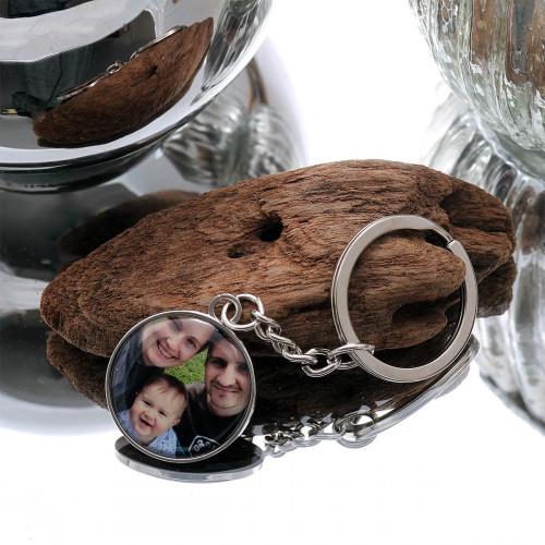 personalised Round Silver Photo Keyring