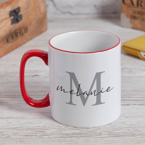 personalised Elegant Name Monogram Two Tone Mug Red