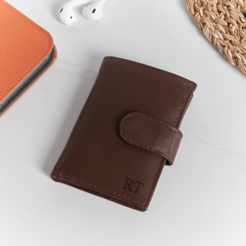 personalised Ricky Credit Card Holder Cognac