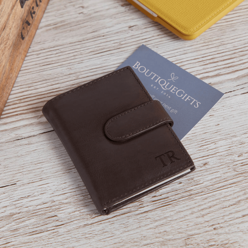 personalised Ricky Credit Card Holder Brown