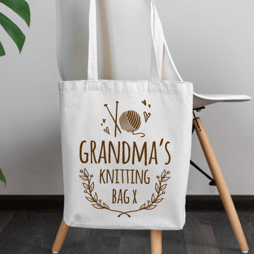 personalised Knitting Canvas Tote Bag